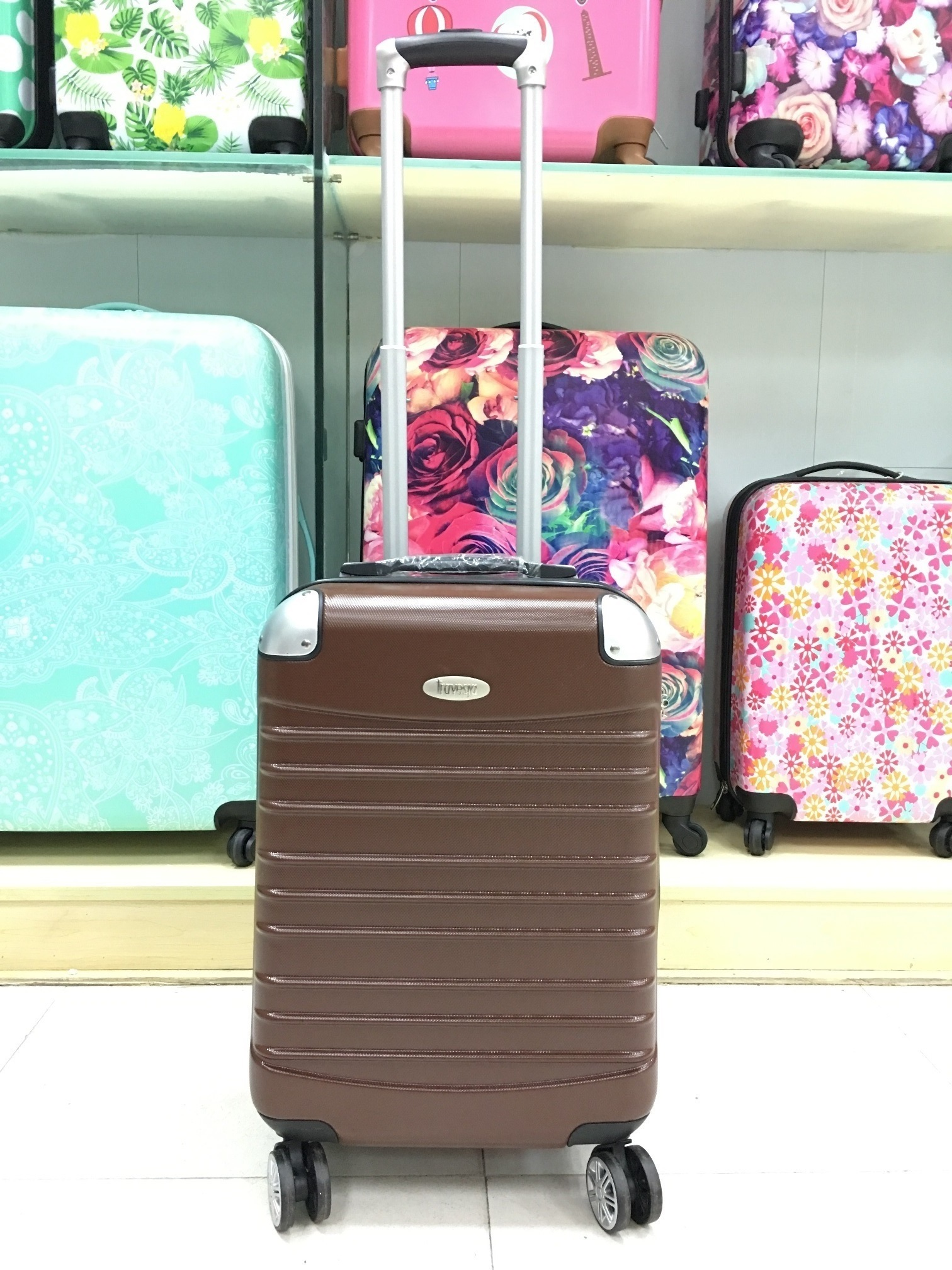 yanteng cheap carry on luggage in brown color