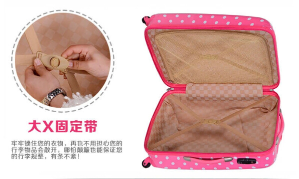 yanteng classic ABS PC spot printed luggage in pink color